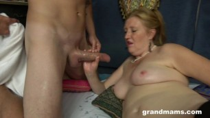 GrandMams The Woman girl in black stockings gets fucked [Aged Redhead]