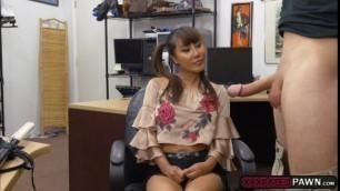 Asian babe Tiffany Rain fucks pawndudes cock for money