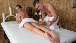 Massagerooms - Amazing Natural Tits Babe Gets Oily And Hard Fuck Stacy Cruz