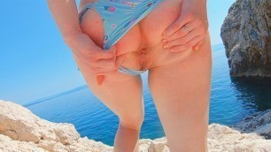 Curvy Pale Redhead Risky Public Beach Handjob Cum | Big Tits Ginger Amateur