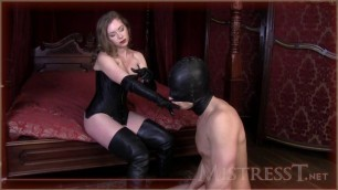Mistress T - oral service from chastity slave