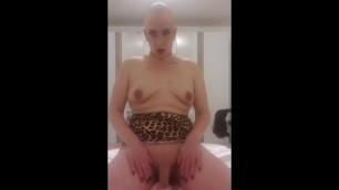 Bald Sissy Bimbo Plays with herself