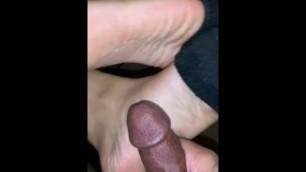 Redbone Socks Halfway down Footjob