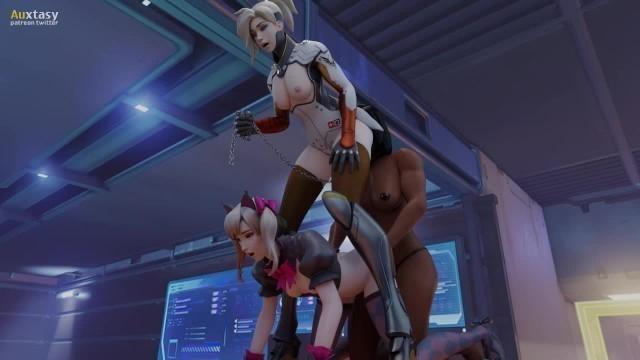 D.Va x Mercy x Pharah - Overwatch Threesome