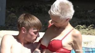 Victoria & stepson skinny grandma outdoor