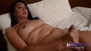 Chubby Pi Ladyboy Cum on Belly after a Good Feeling Masturbation