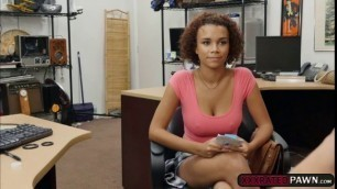 Sexy Raven Redmond fucks pawnmans cock in the office