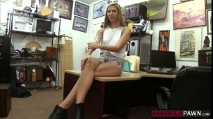 Sexy blonde babe gets banged in the office for money